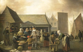 Picture tree, oil, picture, the urban landscape, genre, Fish Market, Hendrik Martens Sorgue