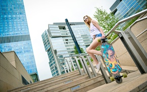 Picture girl, the city, photographer, longboard, urban, Vladislav Semyonov