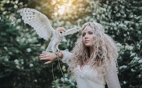 Wallpaper girl, owl, bird, hair, curls, the barn owl, Anton Kharisov, Lera Polovynchyk