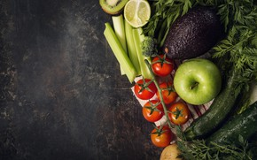 Picture greens, Vegetables, fruit, cuts