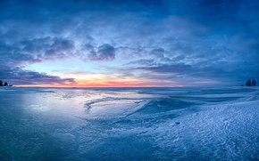 Picture the sky, snow, ice, horizon, Blue ice Sunset