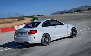 Picture the sky, asphalt, coupe, track, BMW, side view, 2018, F87, M2, M2 Competition