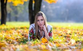 Picture autumn, look, girl, foliage, hair, bokeh