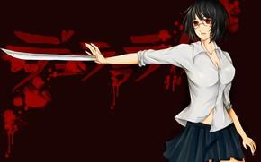 Picture girl, sword, blood, weapon, big, anime, red eyes, katana, ken, brunette, asian, skirt, oriental, asiatic, …