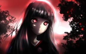 Picture anime, night, red eyes, brunette, evil, hell, kimono, bishojo, Enma Ai, Jigoku Shoujo, japonese, jigoku, …