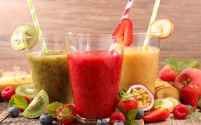 Wallpaper strawberry, drinks, banana, fresh, fruit, berries, blueberries, kiwi, juices