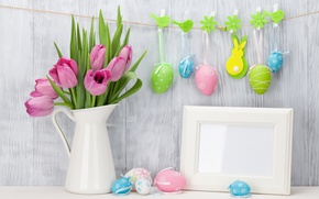 Wallpaper pink, decoration, Easter, pastel, pink, Easter, tulips, tulips, tender, spring, eggs, Happy