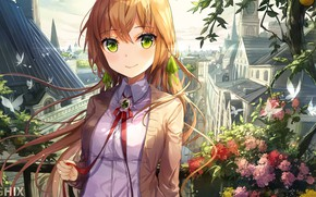 Picture butterfly, flowers, the city, plants, red, schoolgirl, long hair, spires, art, green eyes, red ribbon, …