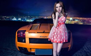 Picture auto, look, Girls, Lamborghini, Asian, beautiful girl, leaning on the car