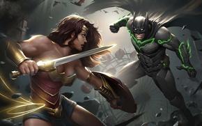 Picture sword, game, Wonder Woman, Batman, ken, bat, blade, cap, mask, suit, shield, warrior, Diana, Bruce …