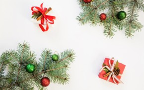 Picture gift, balls, toys, new year, fir-tree branches