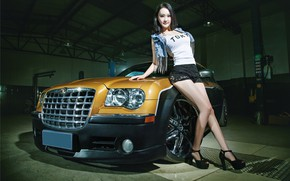 Picture auto, look, Girls, garage, Chrysler, Asian, beautiful girl, leaning on the car