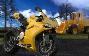 Picture yellow, design, motorcycle, Ducati, Ducati