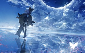 Picture the sky, girl, clouds, shield, Fate / Grand Order, The destiny of a great campaign