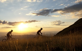 Picture mountains, nature, cyclists
