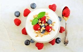 Picture berries, Breakfast, muesli, yogurt