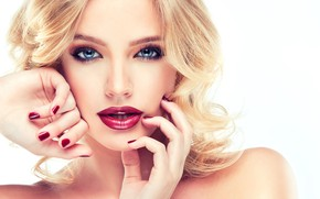 Picture look, face, hair, hands, makeup, hairstyle, blonde, gesture, photoshoot, Sofia Zhuravets'