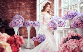 Picture girl, flowers, style, dress