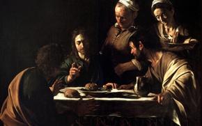 Picture Caravaggio, mythology, Supper at Emmaus, Michelangelo Merisi da Caravaggio, picture