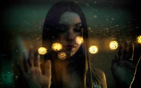 Picture glass, girl, drops, light, rain, bokeh, wet glass