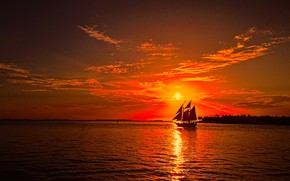 Picture sea, the sun, sunset, red, shore, sailboat