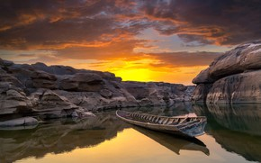 Wallpaper sunset, clouds, rocks, the sky, Ubon Ratchathani, pond, Thailand, canyon, boat, stones