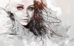 Picture girl, long hair, blue eyes, pretty