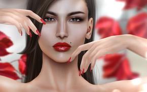 Wallpaper girl, hands, brunette, mole, nails