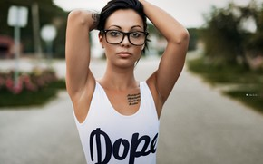 Picture pose, model, makeup, Mike, brunette, glasses, hairstyle, beauty, bokeh