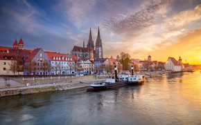 Picture the sky, sunset, river, building, home, Germany, Bayern, steamer, Cathedral, promenade, Germany, Bavaria, Regensburg, Regensburg, …