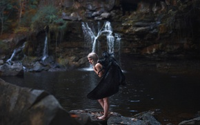 Picture girl, waterfall, wings, Aleah Michele, The Moth Prefers the Moon