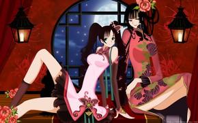 Picture flowers, night, girls, the moon, anime, window, xxxHolic, Triplecalc