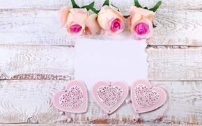 Wallpaper heart, love, roses, wood, pastel, pink, romantic, roses, hearts, petals, flowers, pink roses