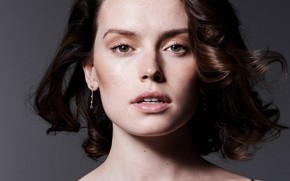 Picture background, portrait, makeup, actress, hairstyle, brown hair, photoshoot, It, Liz Collins, Daisy Ridley, Daisy Ridley
