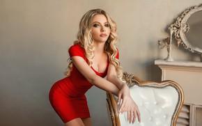 Picture pose, model, hands, red dress, curls, Ekaterina Zorina, A Diakov George