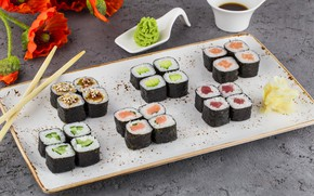 Picture ginger, soy sauce, Rolls, wasabi
