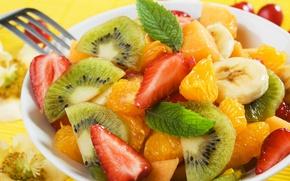 Picture orange, kiwi, strawberry, fruit, banana, salad