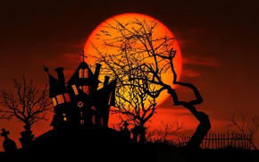 Wallpaper house, tree, the moon, vector, silhouette, Halloween, Halloween