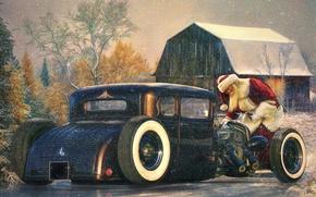 Picture auto, holiday, Santa Claus, Santa Claus, Hot rod