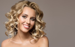 Picture look, smile, background, portrait, makeup, hairstyle, blonde, beauty