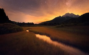 Wallpaper landscape, valley, grass, the sky, dawn, stream, the bushes, trees, Alps, nature, lowland, stars, river, ...
