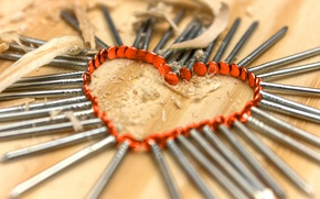 Picture heart, nails, sharpness
