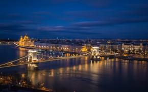 Picture night, bridge, lights, river, Parliament, Hungary, Budapest