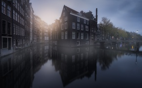Picture reflection, the city, home, Amsterdam, channel, haze, Netherlands