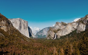 Picture autumn, the sky, clouds, trees, mountains, yosemite national park, Yosemite