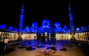 Picture night, UAE, The Sheikh Zayed Grand mosque, Abu Dhabi, UAE, Sheikh Zayed Grand Mosque, Abu-Dhabi
