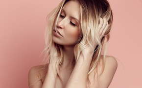 Picture background, model, portrait, makeup, hairstyle, blonde, Alice, Pierre LOUIS
