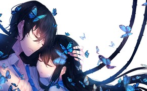 Picture girl, butterfly, romance, guy