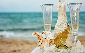 Picture sea, beach, the sky, table, background, wine, bottle, horizon, glasses, white, shell, champagne, tablecloth, bokeh