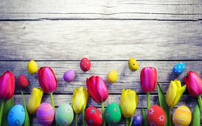 Picture flowers, spring, colorful, Easter, tulips, wood, flowers, tulips, spring, Easter, eggs, decoration, Happy, the painted …